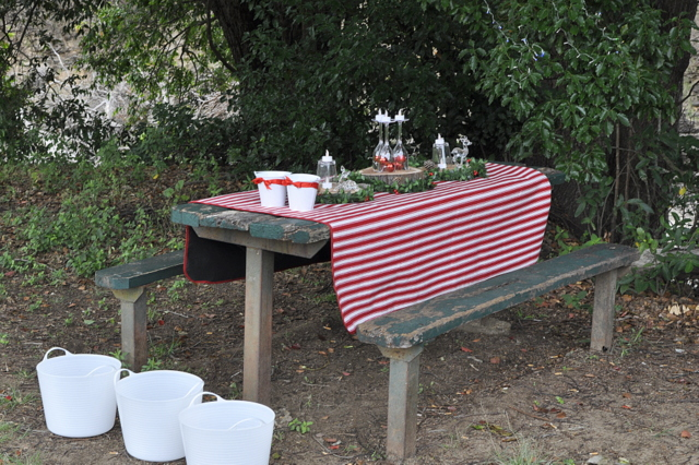 Outdoor Christmas - use rubber tubs filled with ice for drinks - beafunmum.com