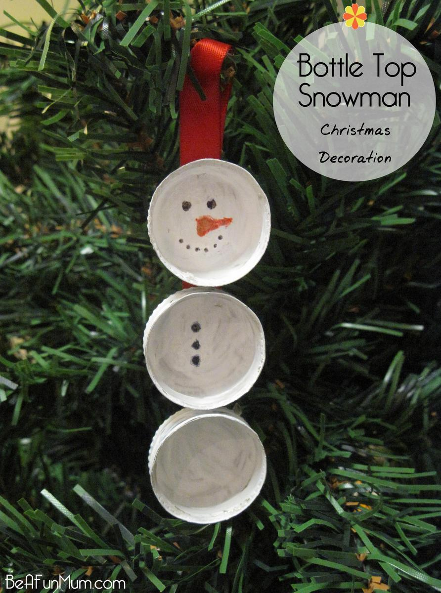 Bottle Lid Snowman - Handmade Christmas Decoration -- beafunmum.com