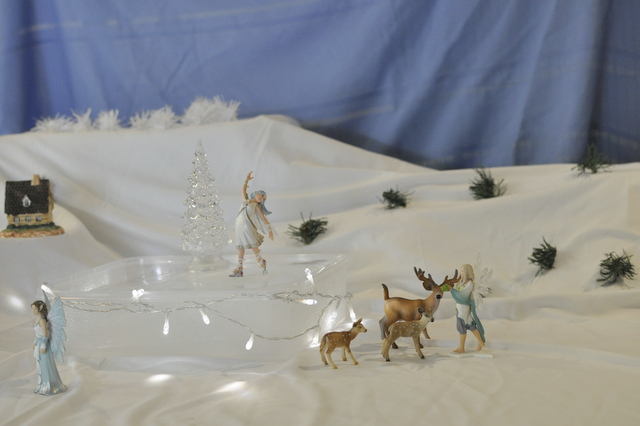 imaginative play for kids - white christmas snow scene - schelich figurine - ice skate fairy