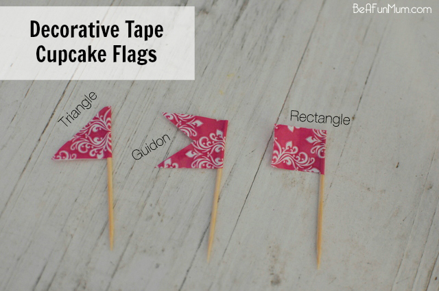 Make cupcake flags out of decorative tape