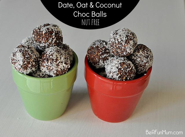 Date, Oat & Coconut Choc Balls