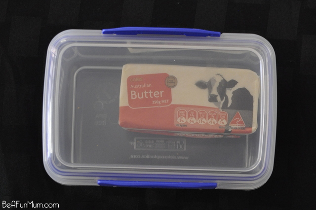 Camping Tip: Keep a block of butter in a clear plastic container. This protects it in the ice box and the container is sturdy so won't crack