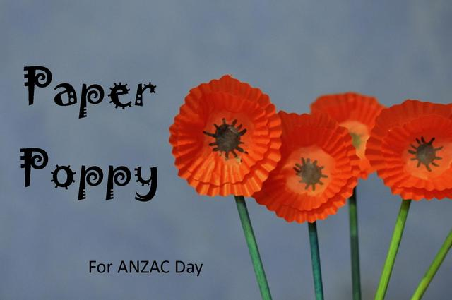 ANZAC Day poppy craft - paper poppy made out of cupcake cases