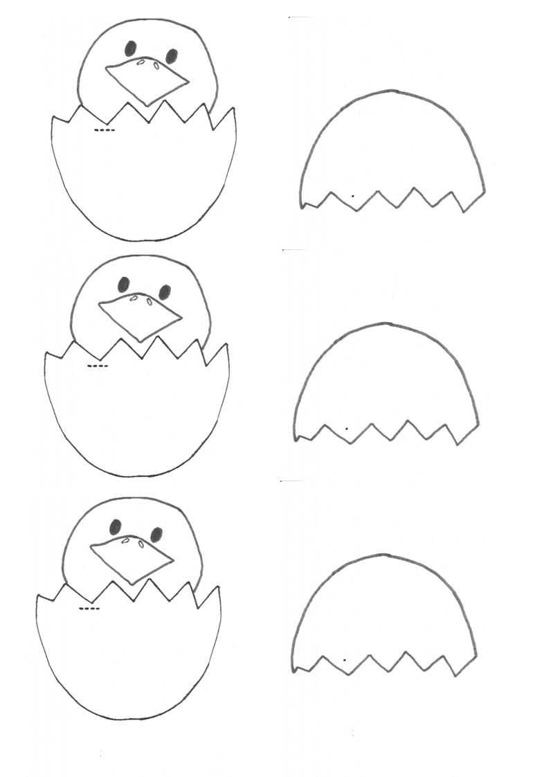 Easter craft hatched egg chicky template be a fun mum for Small easter egg template