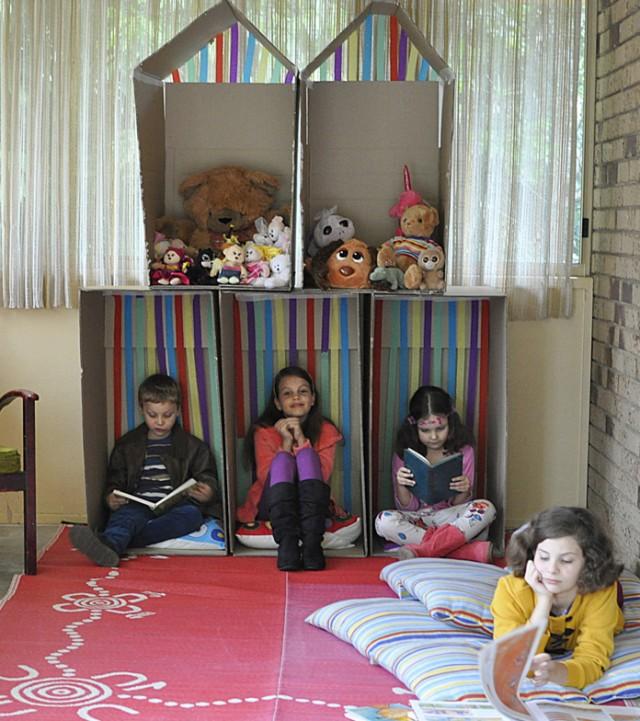 box cubby house -- dollhouse style