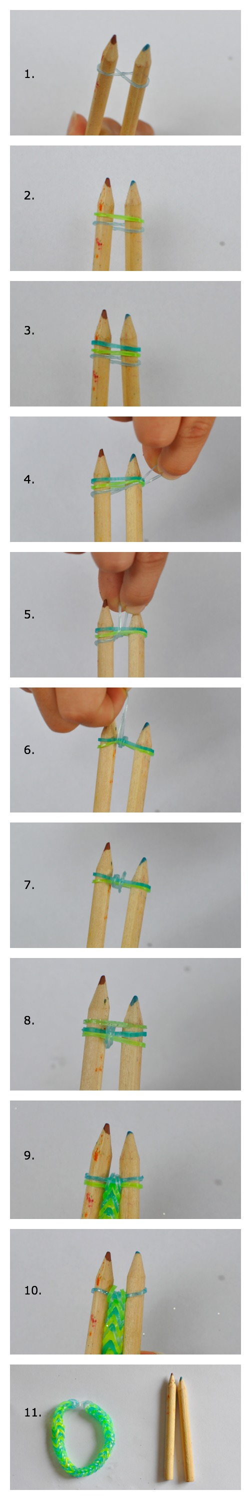 How to make a loom band bracelet with 2 pencils - tutorial