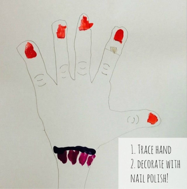 Hand Tracing Activity - trace around a hand and decorate with nail polish