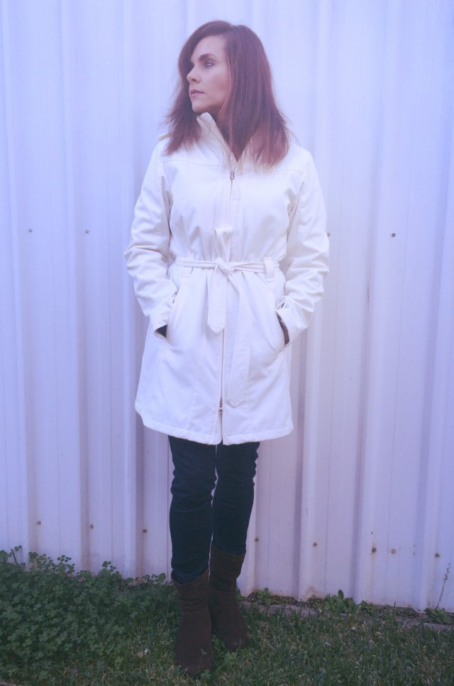 Cream trench coat & fitflop boots