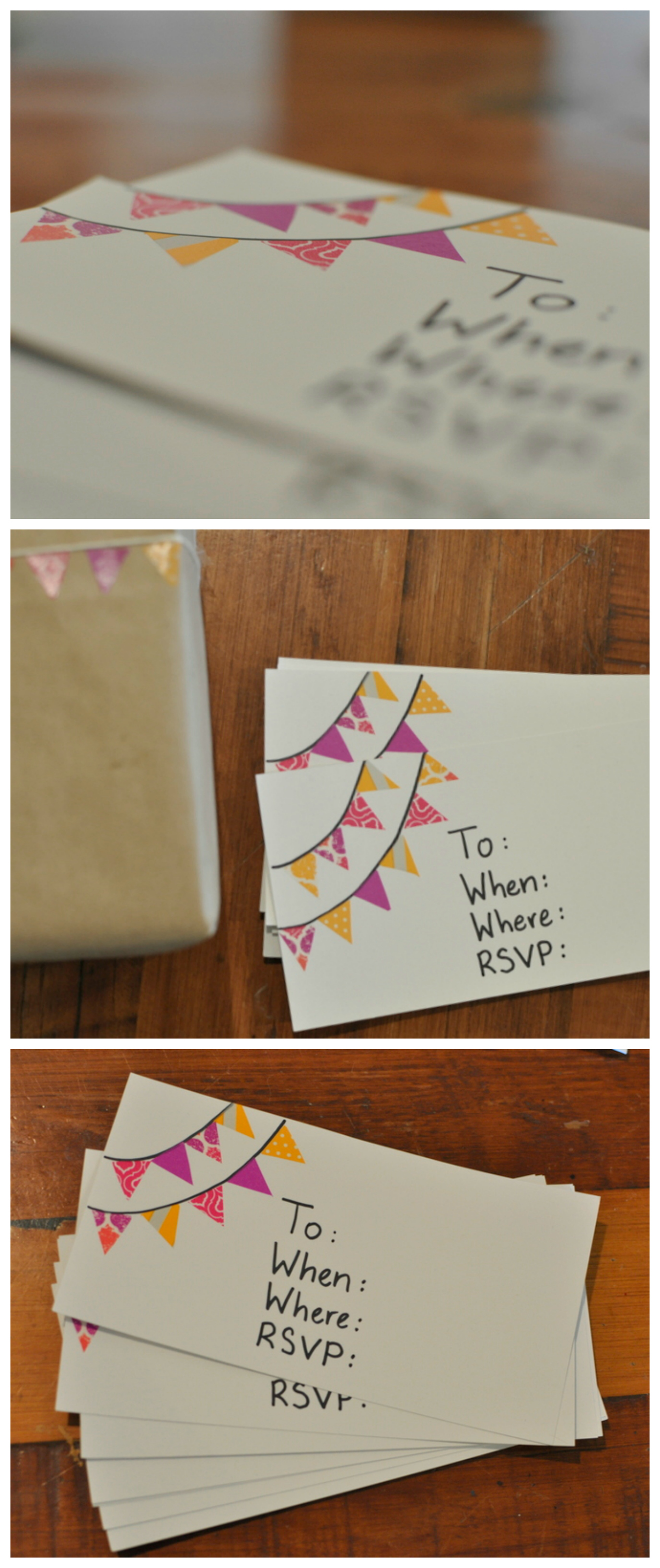 Washi Tape Bunting Invitations