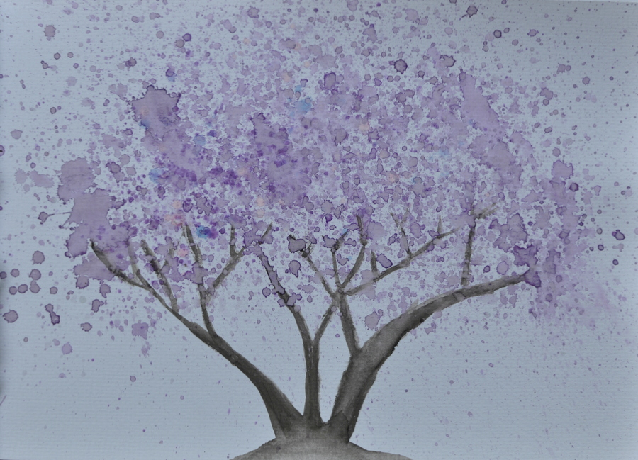 Easy Watercolour Jacaranda Tree