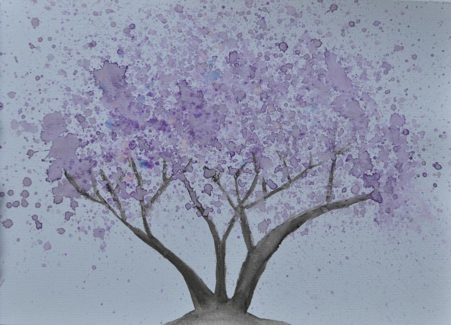 Easy Watercolour Jacaranda Tree