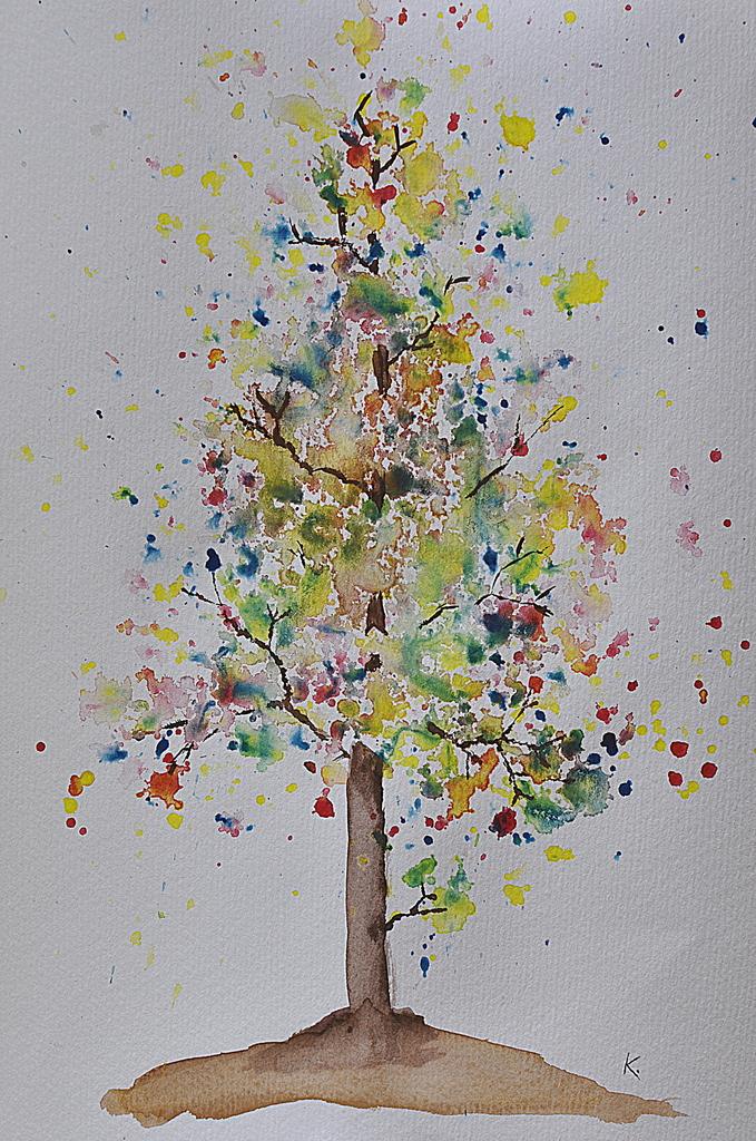 Watercolour Autumn Tree