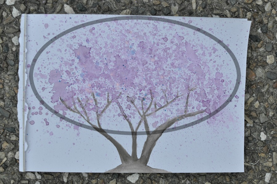 jacaranda tree painting - watercolour