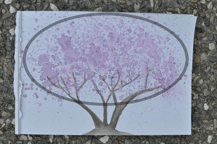 jacaranda tree painting - watercolour