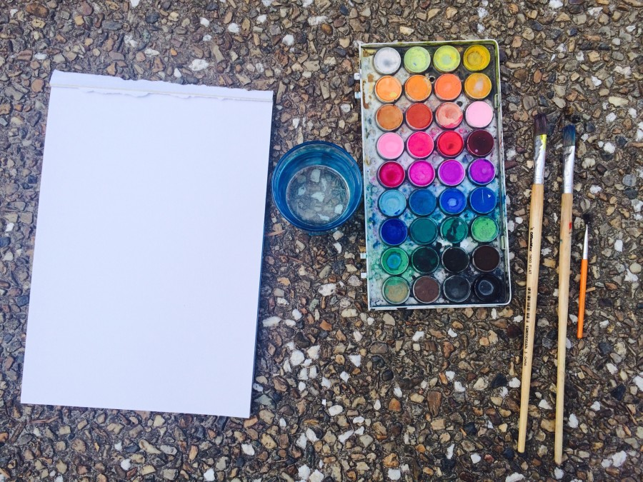 Tools needed for Jacaranda watercolour painting