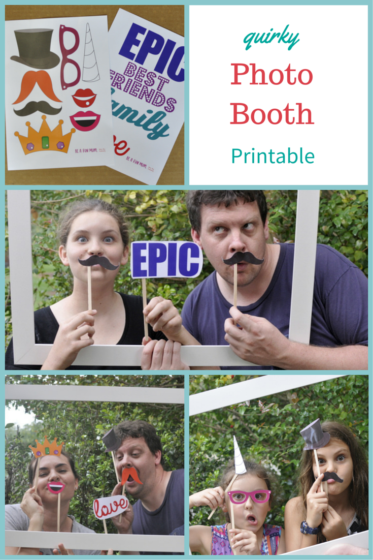Photo Booth Printable: lips, moustache, unicorn horn, tiara, top hat, glasses, words
