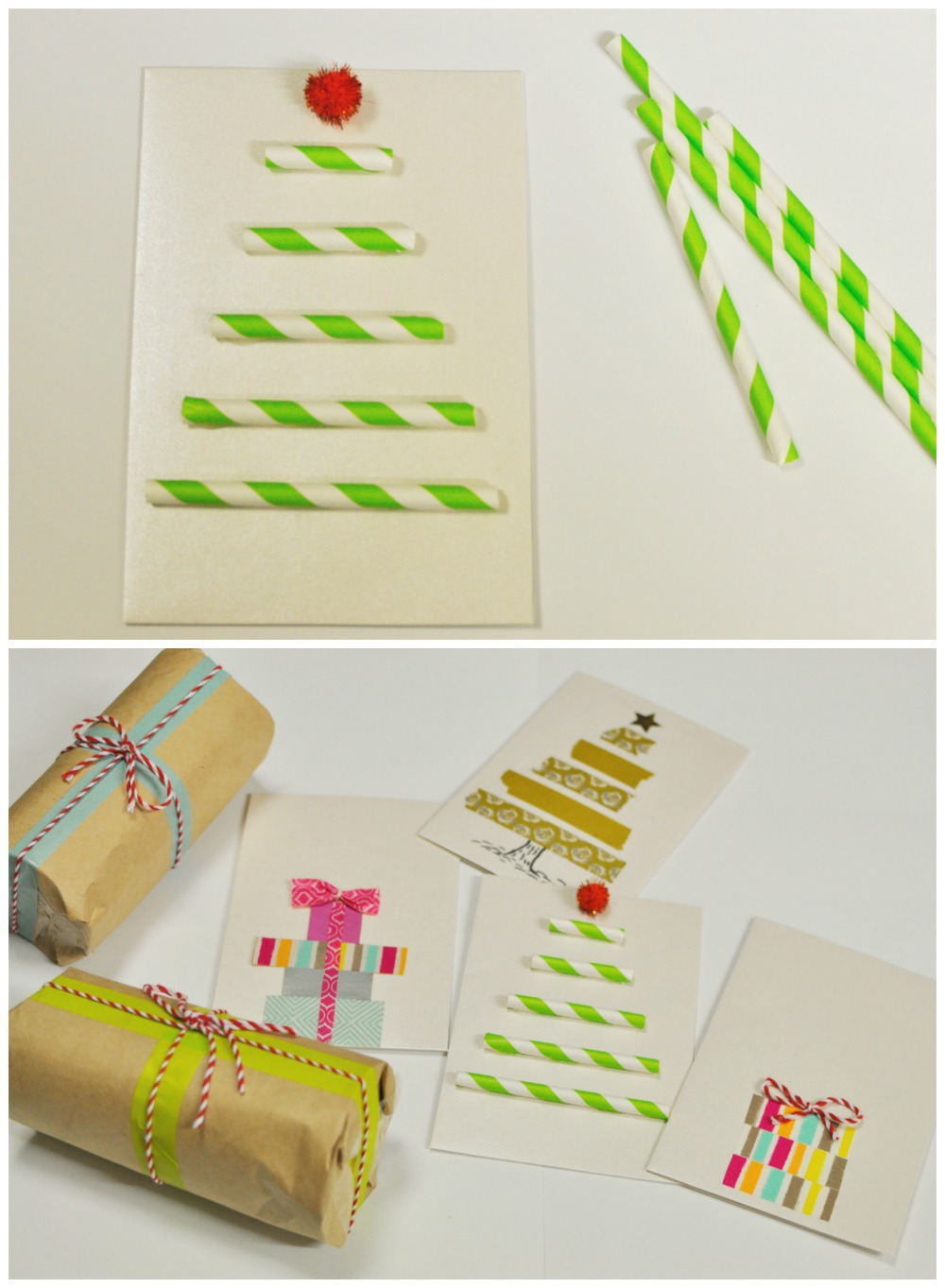 Paper Straw Christmas Card