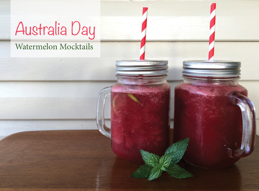 Australia Day Mocktail with fresh frozen watermelon