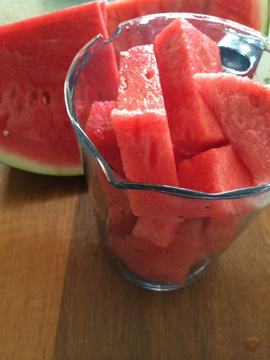 Australia Day Watermelon Mocktail cut fruit into cubes