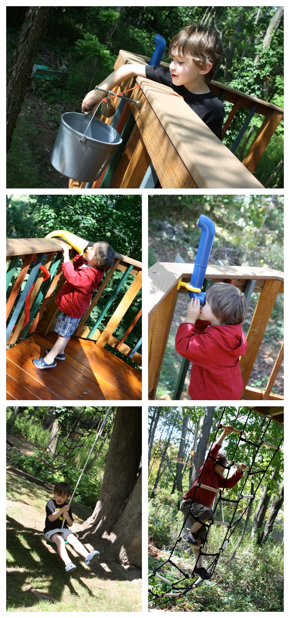 Fun things to include on a treehouse: bucket and pulley, talk tubes, periscope, disc swing, trapeze