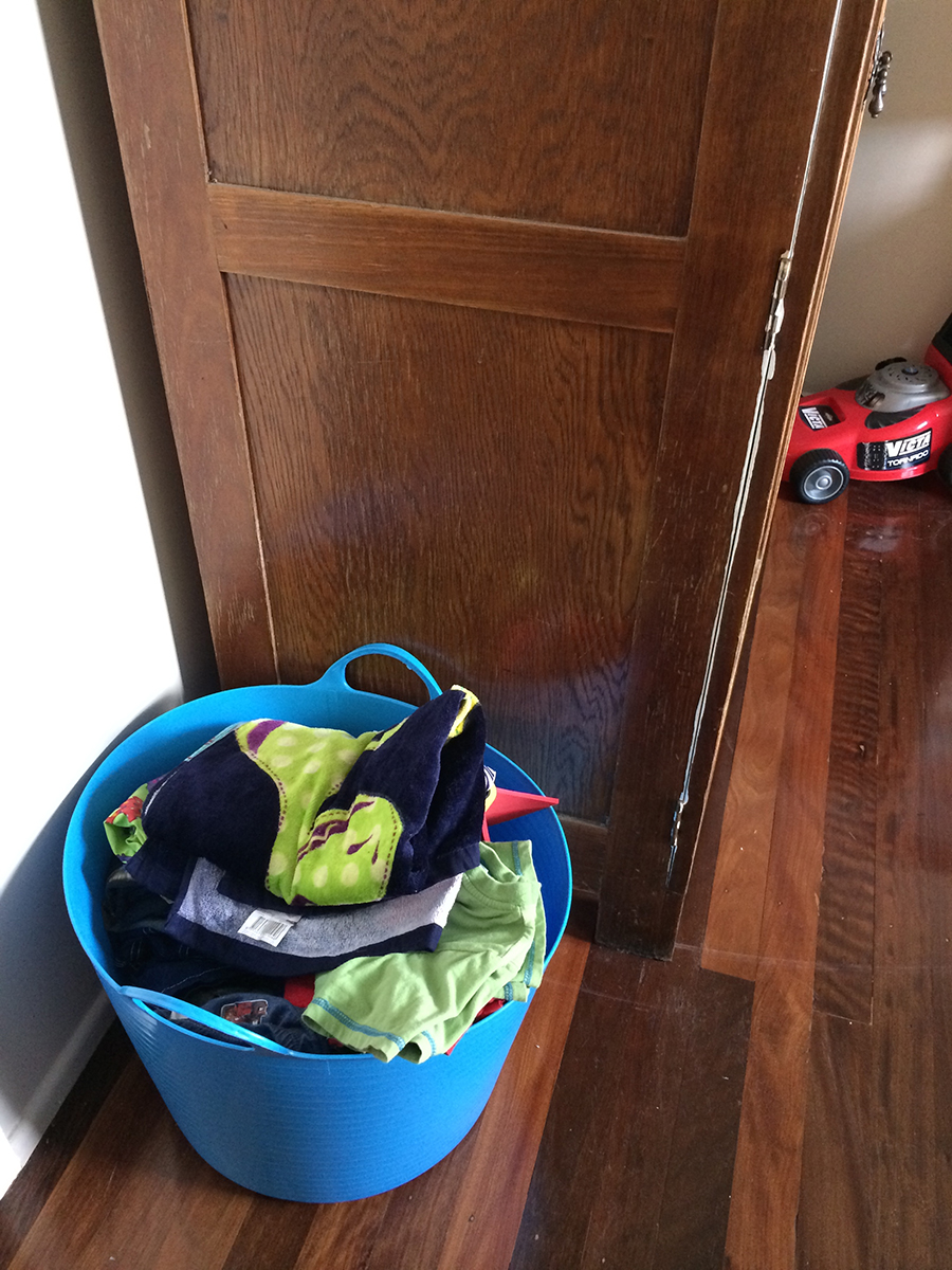 The Bucket Chore System in a childs room