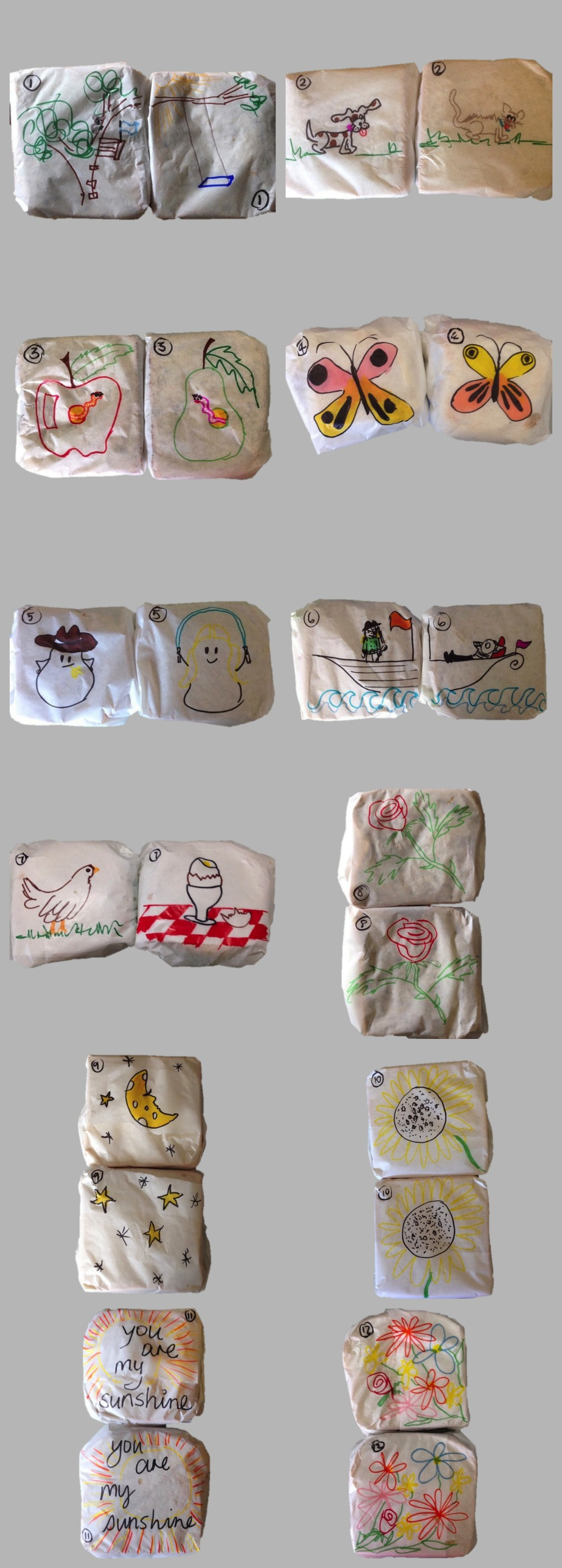 Cute lunch box idea - draw cute designs on to baking paper for sandwich wrapping