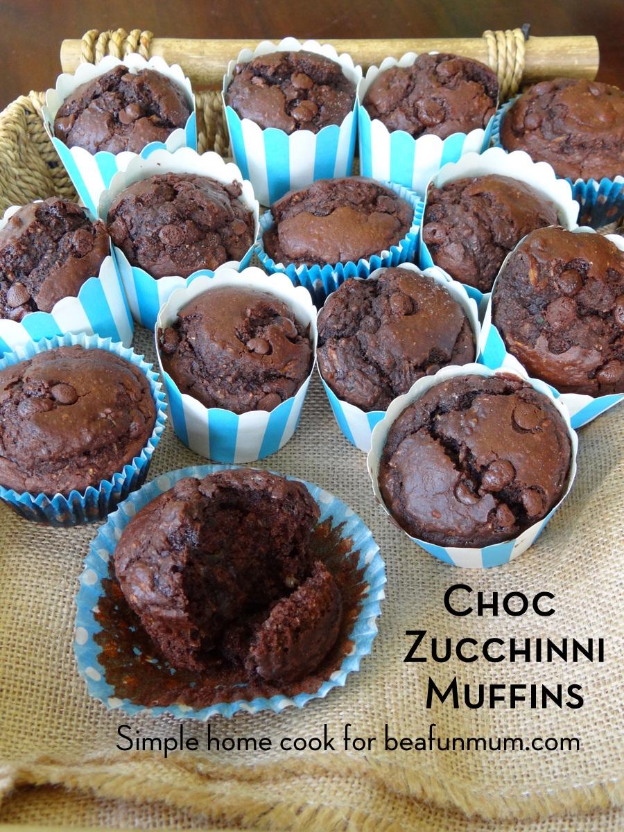 Choc Zucchini Muffins (refined sugar free)