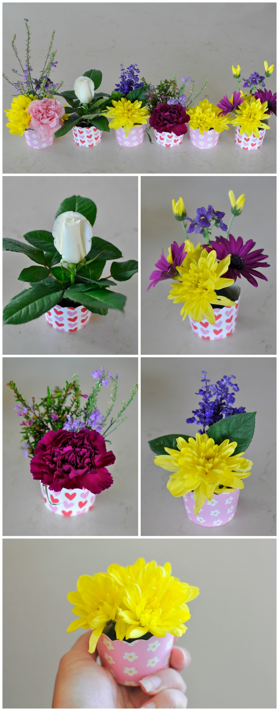 Mother's Day Gift Idea: Use a decorative cupcake case to make a mini flower arrangement. Kids could do it themselves!