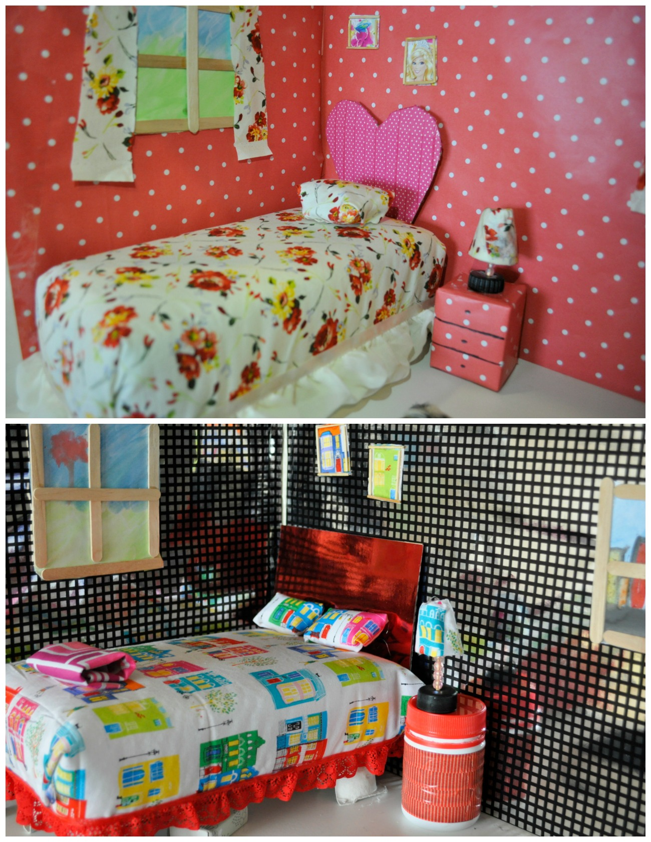 How to make a Barbie bed out of a recycled box