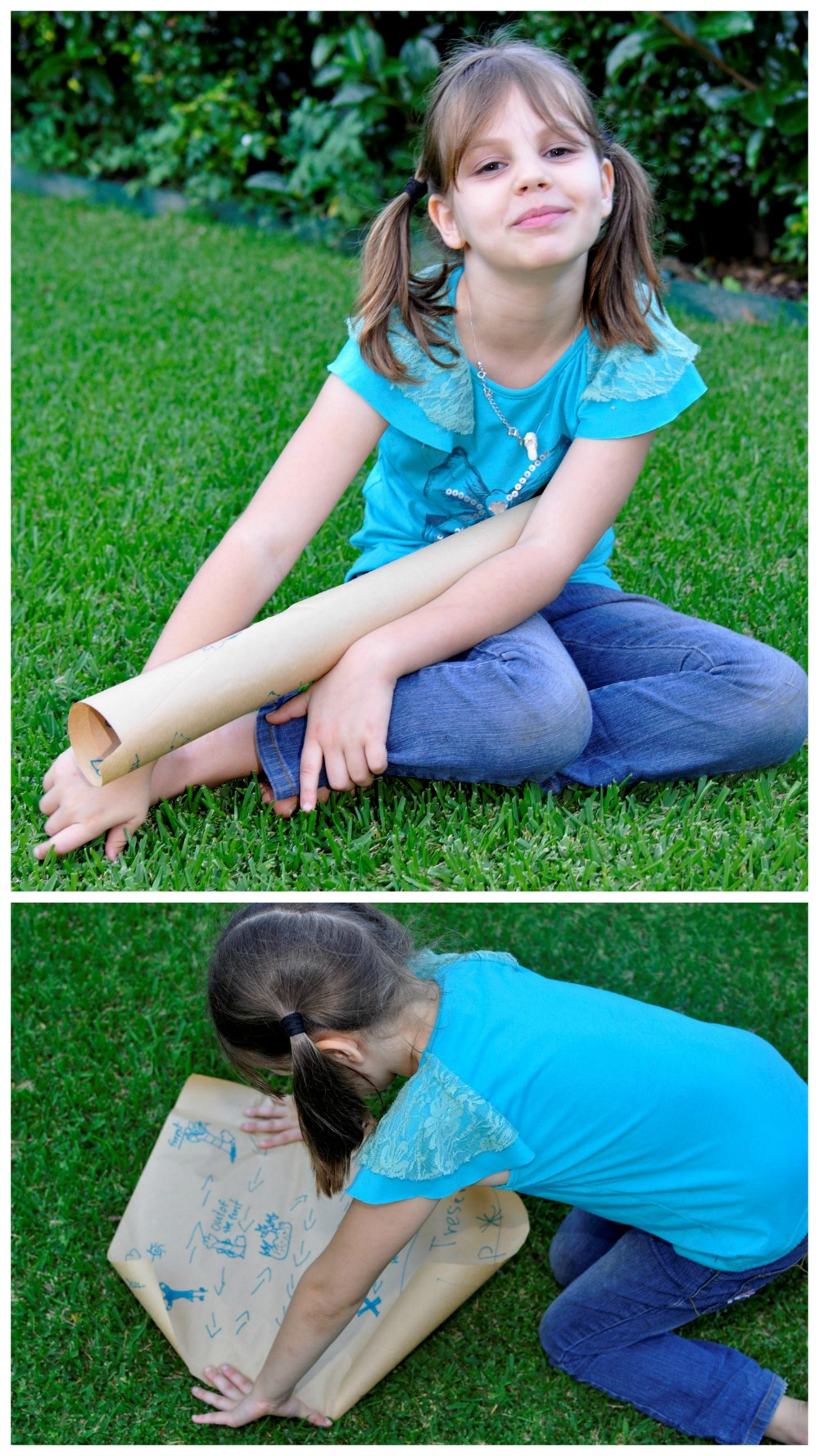 Make a treasure map out of brown paper