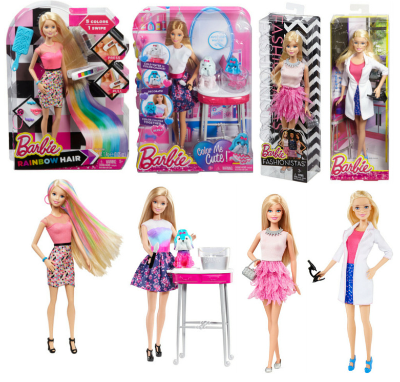 Barbie Giveaway: Barbie Rainbow Hair $39.99 - Barbie Colour Me Cute $39.99 - Barbie Fashionista $18.99 - Barbie I Can Be doll $18.99