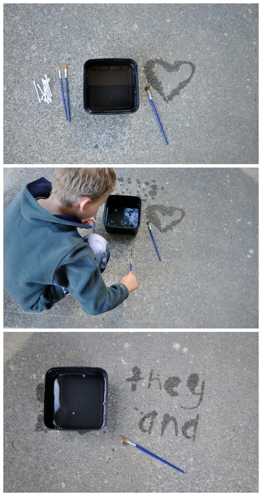 Water painting on concrete - a great way to do sight words too.