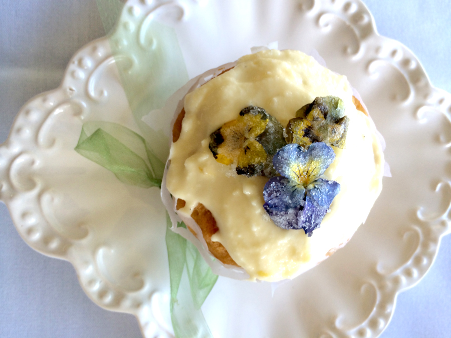 pansy cupcake in vintage papers