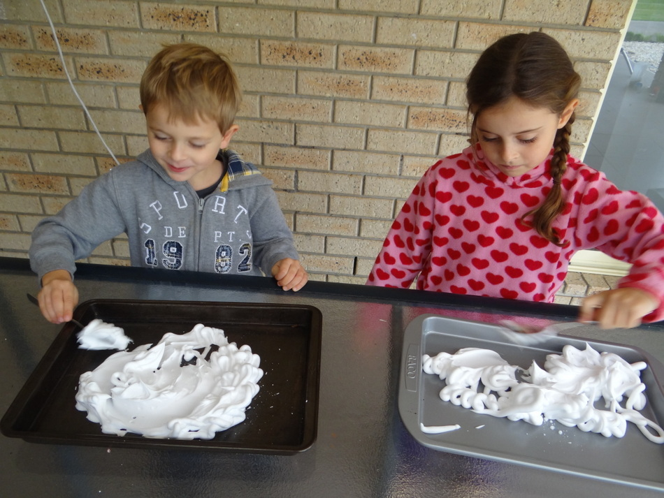 Fun for kids - shaving cream marbling - use a spoon to spread it out
