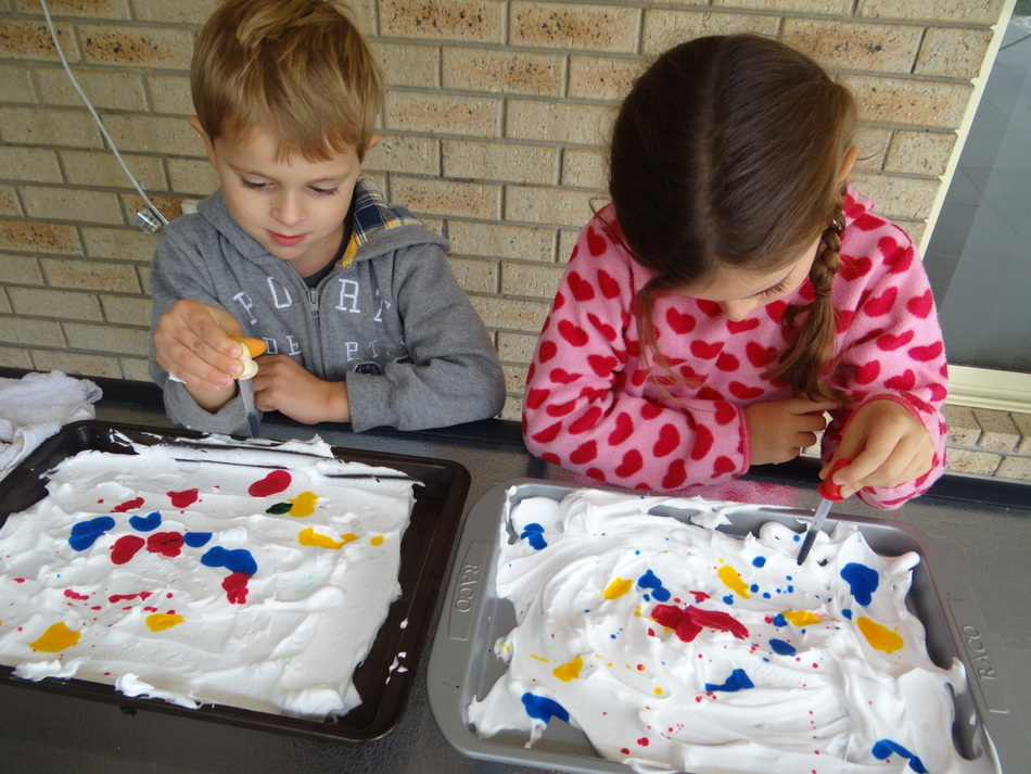 Fun for kids - shaving cream marbling - drop food colouring or paint into the shaving cream