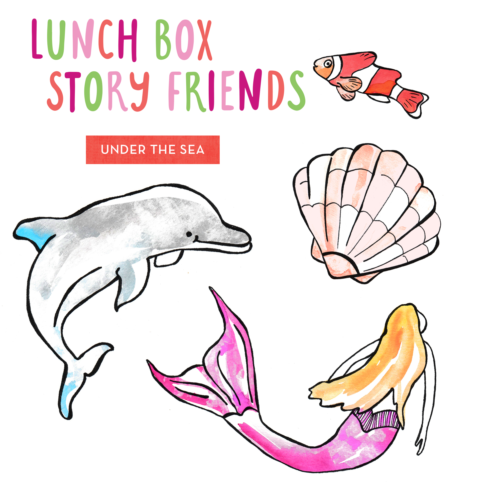 Lunch Box Story Friends Printable - Under the Sea Theme - cute little messages to include in the lunch box