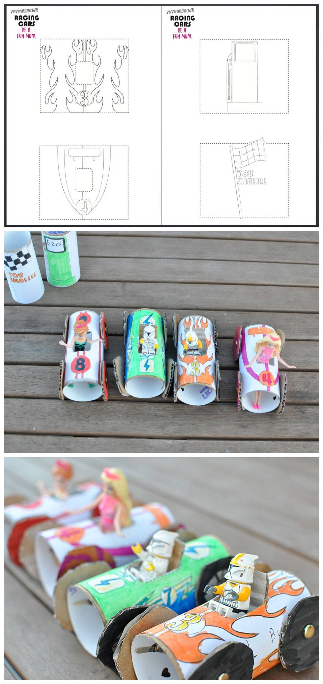 A printable to make toilet roll racing cars