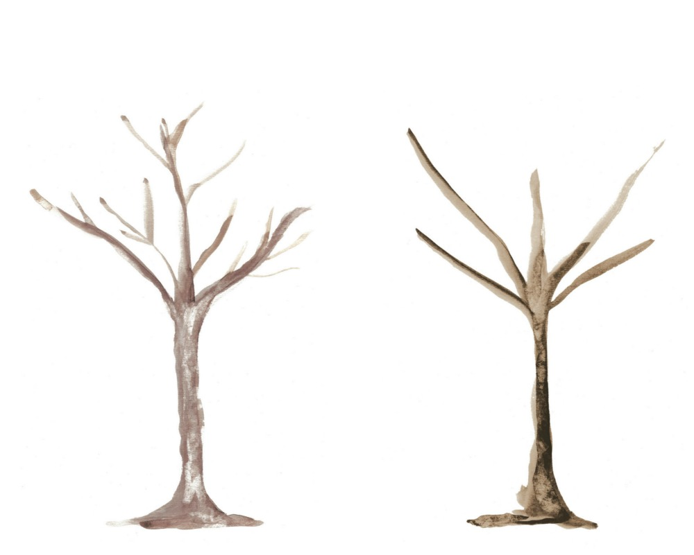 Tree Trunk Templates - Watercolour