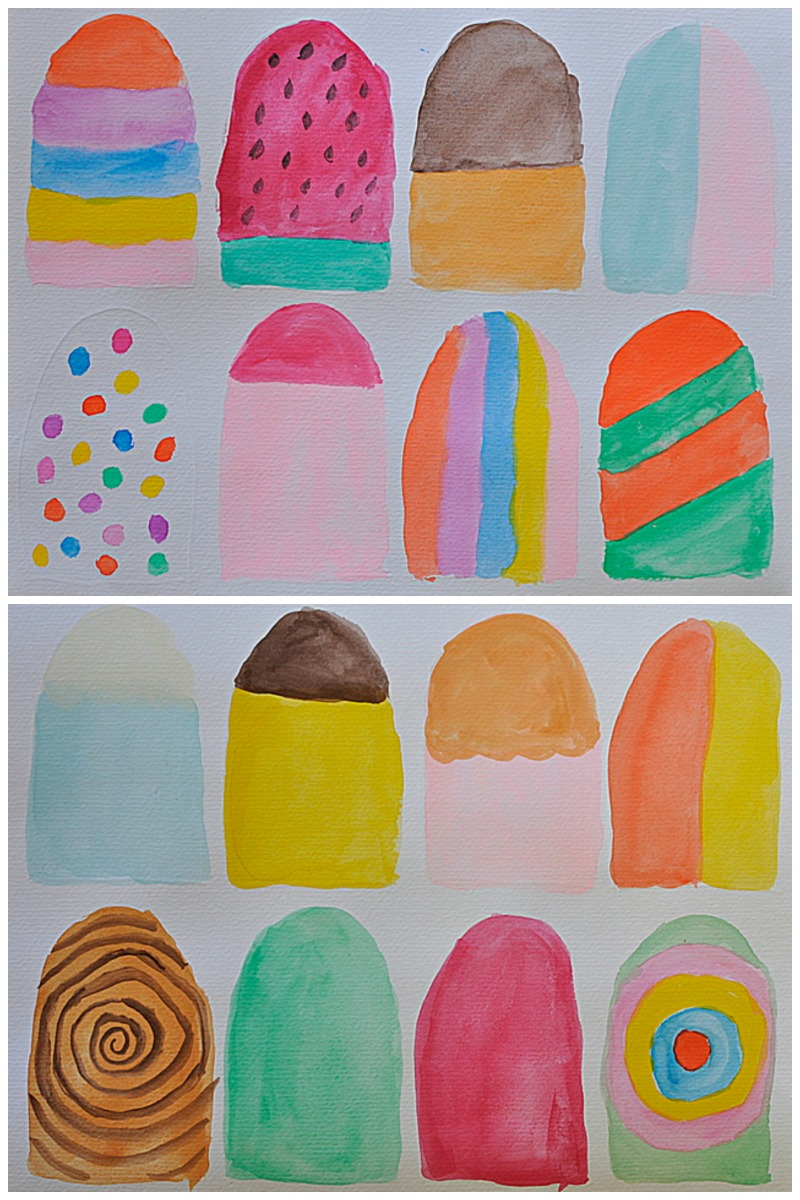 Paper popsicle ice cream template