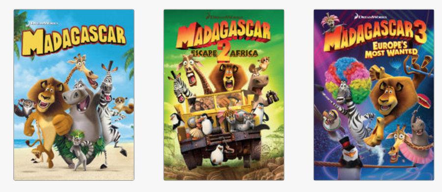 Netflix - Madagascar 1,2 & 3