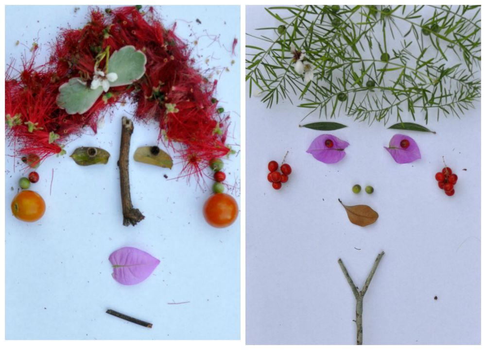 Leaf art - foliage faces
