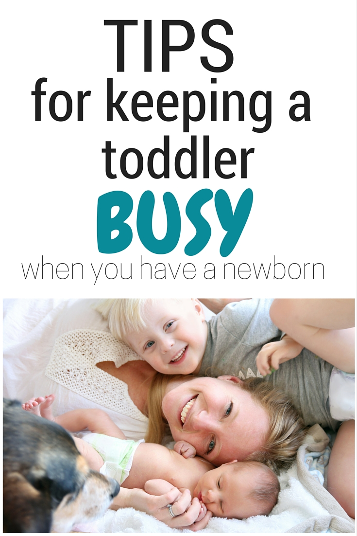 Tip for keeping a toddler busy when you have a newborn