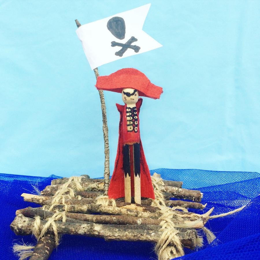 Pirate Peg Doll and Stick Raft