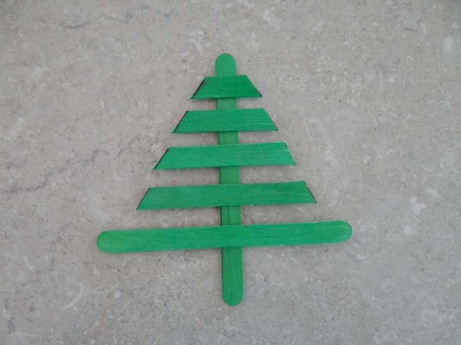 Homemade Christmas Tree Decorations - Paddle Pop Stick Christmas Tree