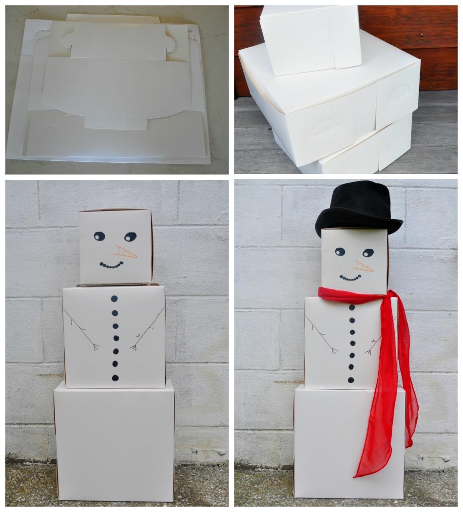 Disguising Christmas Presents - box snowman