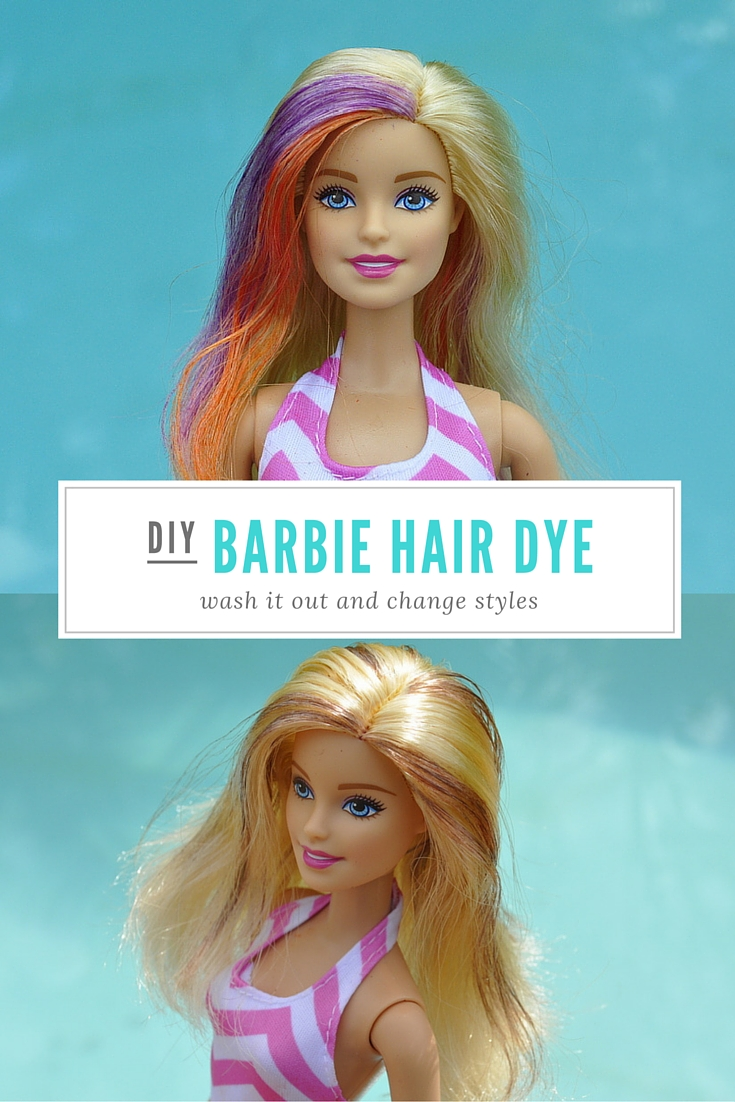 DIY Barbie Hair Dye - it washes out in water and you can change styles