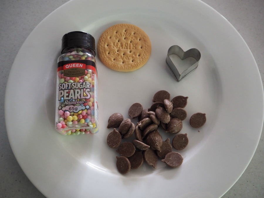 chocolate heart freckle biscuits