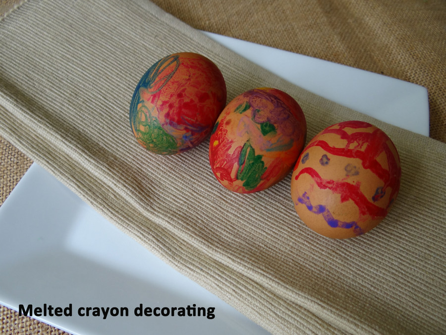 melted crayon boiled egg decorating for Easter