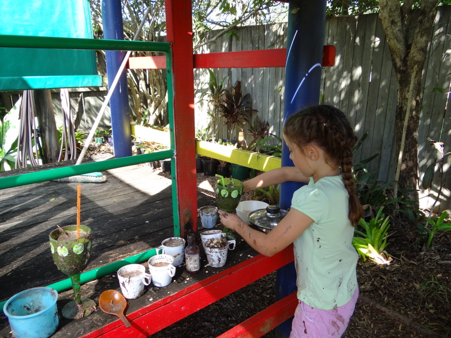 Backyard Play Idea - How to make a mud kitchen for play