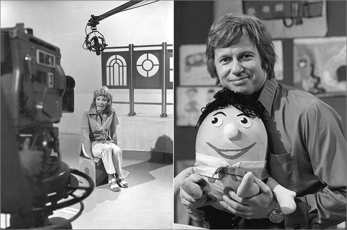 Presenter Jan Kingsbury on set with the windows, which have been part of the Play School routine the program began. Presenter John Hamblin is pictured with Humpty, one of the show's original toys. Image © Australian Broadcasting Corporation 2016